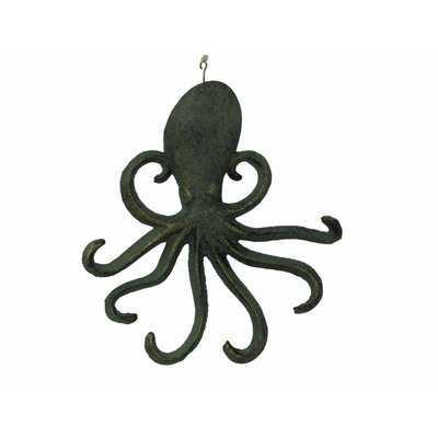 "Belapais 7"" Cast Iron Wall Mounted Octopus Hook Color: Rustic Verdigris Bronze"