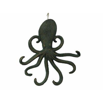 "Belapais 7"" Cast Iron Wall Mounted Octopus Hook Color: Rustic Verdigris Bronze"