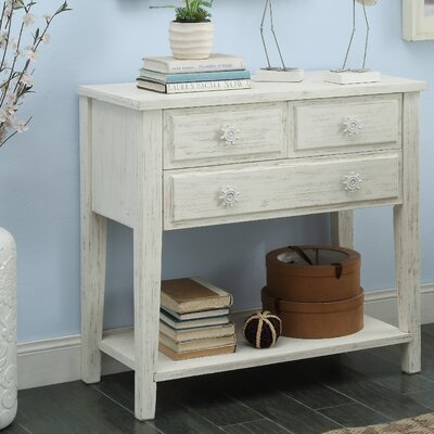 Emig Rectangle Wood Console Table Color: Cream