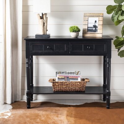 Manning 2 Drawer Console Table Color: Distressed Black
