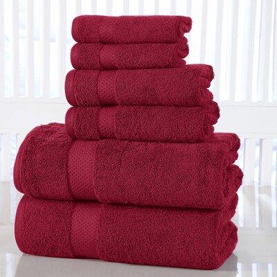Luxurious 6 Piece 100% Cotton Towel Set Color: Garnet Red
