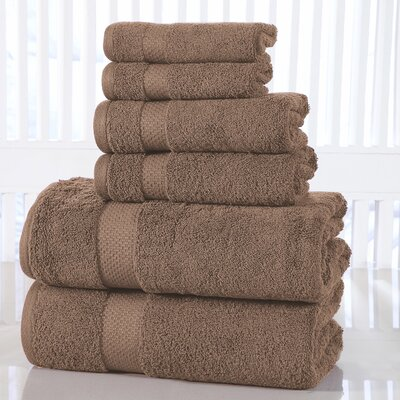 Luxurious 6 Piece 100% Cotton Towel Set Color: Brown