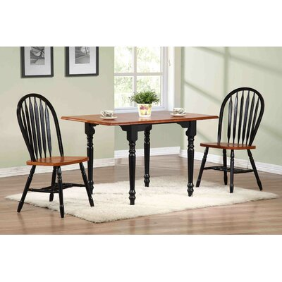 Copernicus 3 Piece Drop Leaf Dining Set Chair Color: Antique Black with Cherry