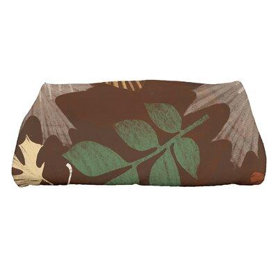 Brookfield Watercolor Leaves Bath Towel Color: Brown