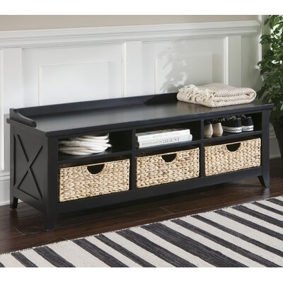 Methuen Wood Storage Bench Color: Black