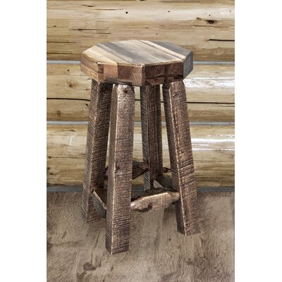 "Katlyn 24"" Round Bar Stool Finish: Stain and Clear Lacquer"