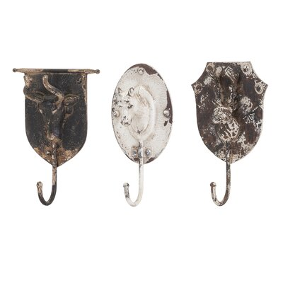 3 Piece Burns Metal Animal Wall Hook Set