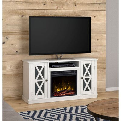 """Emelia 48"""" TV Stand with Optional Fireplace Color: White, Fireplace Included: Yes"""