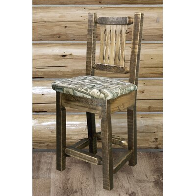 "Katlyn 24"" Bar Stool Finish: Clear Lacquer, Upholstery: Buckskin"