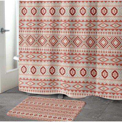 "Cabarley Bath Rug Size: 17"" W x 24"" L, Color: Red/ Tan/ Ivory"