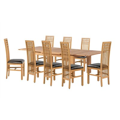 Pedraza 9 Piece Extendable Dining Set Color: Light Dark Oak