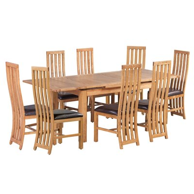 Arreola 9 Piece Extendable Dining Set Color: Light Dark Oak
