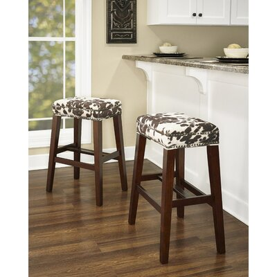 """Bloomer Bar & Counter Stool Seat Height: Bar Stool (30.5"""" Seat Height), Upholstery: Brown Cow Print"""
