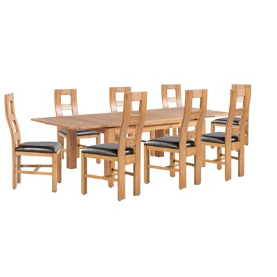 Pecoraro 9 Piece Extendable Dining Set Color: Light Dark Oak
