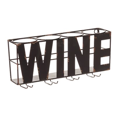 Doswell 4 Bottle Wall Mounted Wine Rack