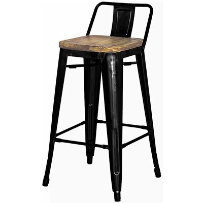 "Shumake 26"" Bar Stool Upholstery: Black"