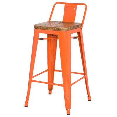 "Shumake 26"" Bar Stool Upholstery: Orange"