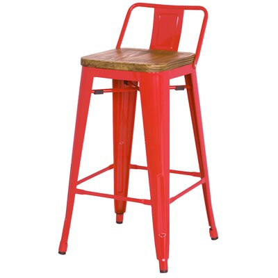 "Shumake 26"" Bar Stool Upholstery: Red"