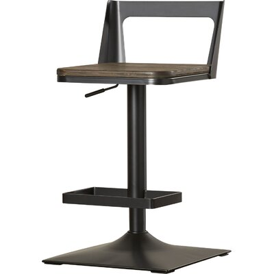 Flagler Adjustable Height Swivel Bar Stool Finish: Black/Espresso