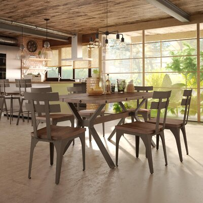 Darcelle 7 Piece Distressed Dining Set Base Finish: Hammered Medium Brown Metal, Top Finish: Medium Brown Distressed Birch