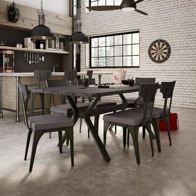 Darcelle 5 Piece Metal and Wood Dining Set Top Finish: Medium Dark Gray Distressed Birch, Upholstery Color: Polyester - Warm Medium Gray