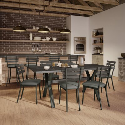 Darcelle 5 Piece Metal and Aged Wood Dining Set Top Finish: Medium Dark Gray Wood, Base Finish: Semi-transparent Gun Metal Finish, Upholstery Color: Soft Brown Fabric