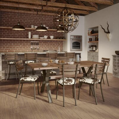 Darcelle 7 Piece Metal and Aged Wood Dining Set Upholstery Color: Beige Faux Cowhide Fabric, Top Finish: Medium Brown Wood, Base Finish: Textured Dark Brown Metal