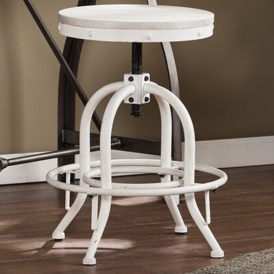 Alessia Adjustable Height Swivel Bar Stool Color: White