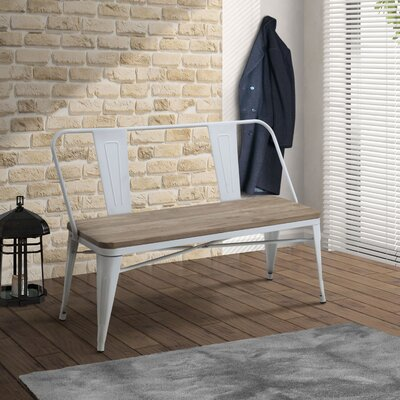 Fort Fairfield Metal Bench Color: White