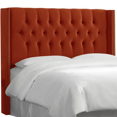 Aura Diamond Tufted Upholstered Wingback Headboard Upholstery: Mystere Hacienda, Size: California King