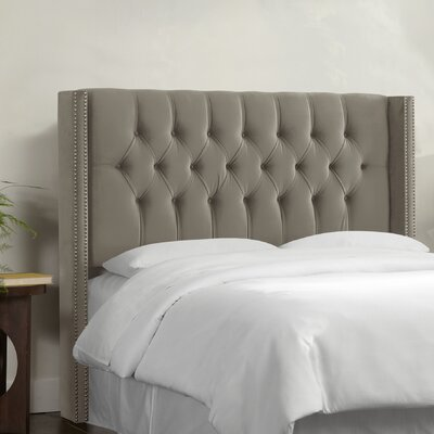 Aura Diamond Tufted Upholstered Wingback Headboard Upholstery: Mystere Gladiator Grey, Size: King