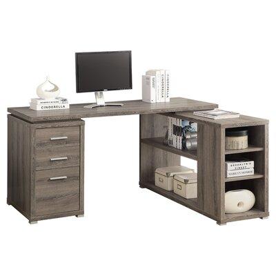 house of hampton charisse l shaped 3 drawer corner desk reviews wayfair. Black Bedroom Furniture Sets. Home Design Ideas