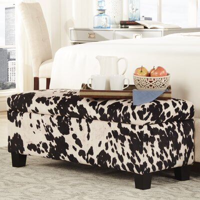 Hetherington Upholstered Storage Bench Color: Black Cow Hide Print Fabric