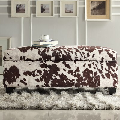 Hetherington Upholstered Storage Bench Color: Brown Cow Hide Print Fabric