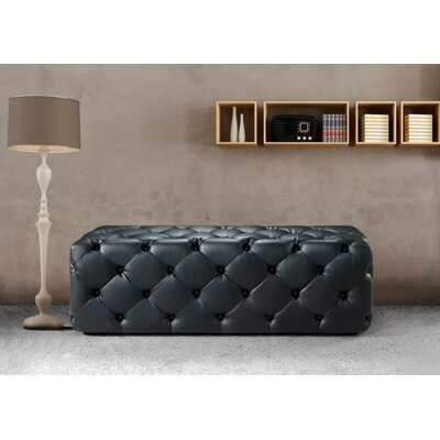 Gertz Leather Bench Upholstery Color: Black