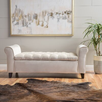 Havelock Upholstered Storage Bench Upholstery: Ivory