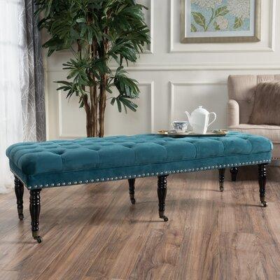 Cline Velvet Upholstered Bench with Caster Upholstery: Dark Teal