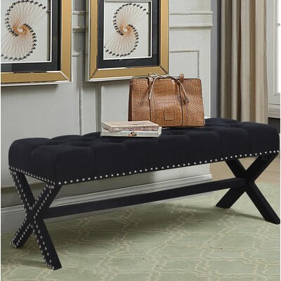 Hafer Tufted Nailhead Upholstered Bench Upholstery: Black