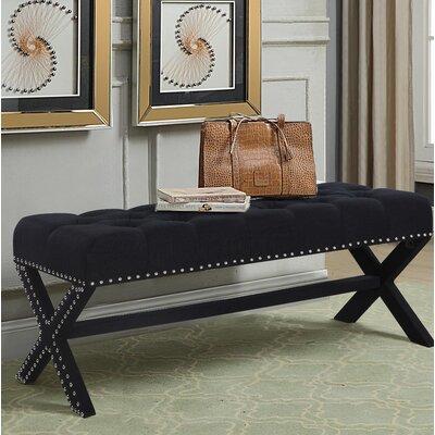Hafer Tufted Nailhead Upholstered Bench Upholstery: Black