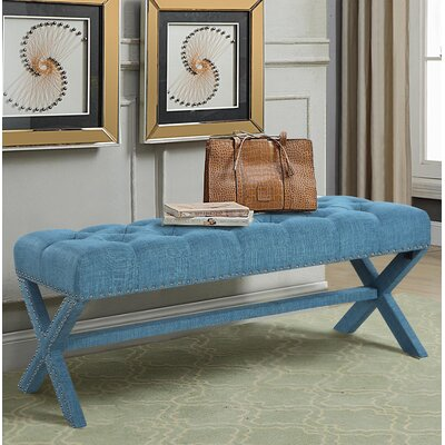 Hafer Tufted Nailhead Upholstered Bench Upholstery: Blue