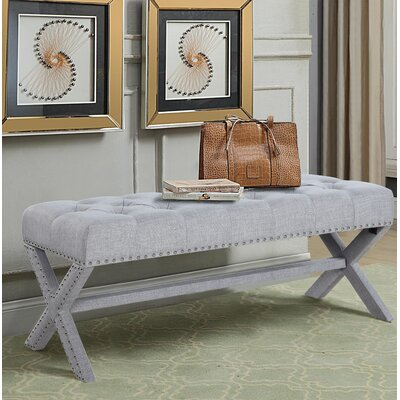 Hafer Tufted Nailhead Upholstered Bench Upholstery: Gray