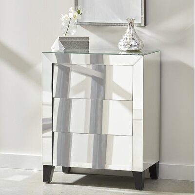 McCollough Mirrored Louver 3 Drawer Accent Chest