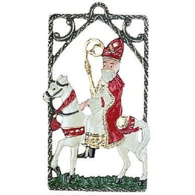 St. Nicholas Riding a Horse Double Sided German Pewter Christmas Ornament