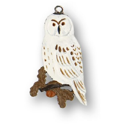 Snowy Owl German Pewter Christmas Ornament
