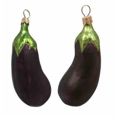 Eggplant Polish Mouth Blown Glass Christmas Ornament