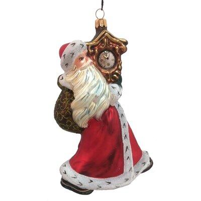 Santa Claus Carrying a Clock Polish Mouth Blown Glass Christmas Ornament