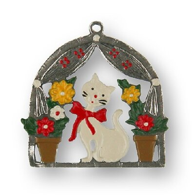 Cat with Flowers on Windowsill German Pewter Christmas Ornament