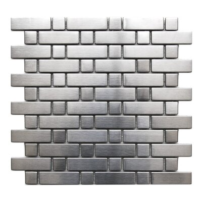 Brick Random Sized Metal Mosaic Tile in Matte Silver