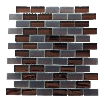 """Free Flow 1"""" x 2"""" Glass Mosaic Tile in Coffee"""