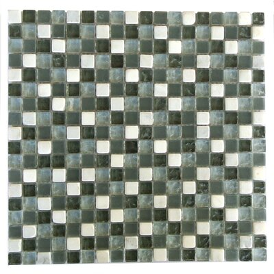 """Quartz 0.63"""" x 0.63"""" Glass and Stone Mosaic Tile in Green and White"""
